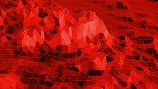 Abstract waving red low poly surface as cyber background in stylish low poly design. Polygonal mosaic background with vertex, spikes. Red low poly background. Cartoon modern 3D design