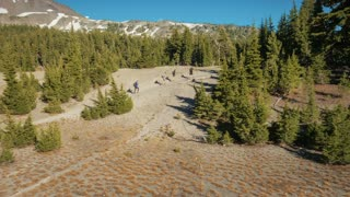 Aerial/Drone of Hikers In Wilderness