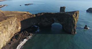 Aerial Dyrholaey Sea Arch Iceland