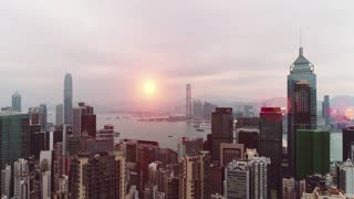 AERIAL. Hong Kong Sunrise, View from The drone, Hong Kong Sun shape in the sky
