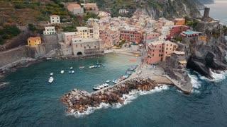 Aerial of Vernazza in Cinque Terre Italy