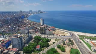 Aerial View Caribbean Sea Old Havana Cuba Drone Flying