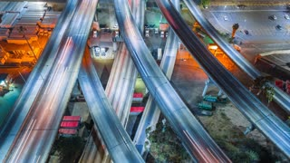 Aerial view of city freeways and highway from above in 4K