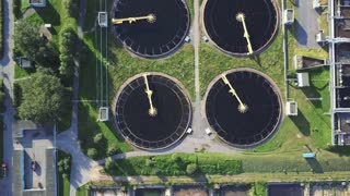 aerial view of sewage treatment plant in wroclaw city