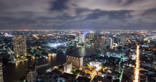 Bangkok Thailand Thunder Storm at Night Time Lapse