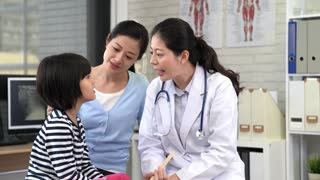 beautiful asian doctor consultation with a little girl and her mother