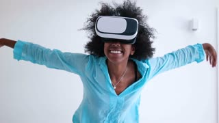 Black African American Woman Wearing Vr Headset And Watching 360 Videos
