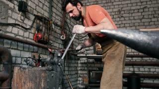 Blacksmith set the knife blanks