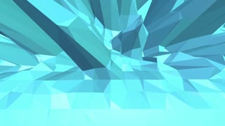 Blue low poly shifting surface as bright backdrop. Blue polygonal geometric shifting environment or pulsating background in c vibrating artoon low poly popular modern stylish 3D design. Free space