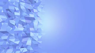 Blue low poly shifting surface as fractal environment. Blue polygonal geometric shifting environment or pulsating background in cartoon low poly popular modern stylish 3D design. Free space