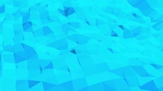 Blue low poly shining surface as corporate background. Blue polygonal geometric shining environment or pulsating background in cartoon low poly popular modern stylish 3D design.
