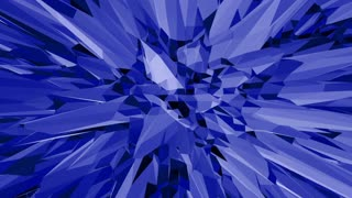 Blue low poly wavering surface as scientific visualization. Blue polygonal geometric wavering environment or pulsating background in cartoon low poly popular modern stylish 3D design.