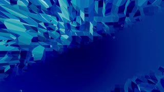 Blue metalic low poly waving surface as space environment. Blue polygonal geometric vibrating environment or pulsating background in cartoon low poly popular modern stylish 3D design. Free space