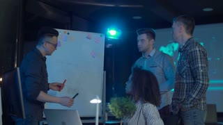 Business people brainstorming ideas on a whiteboard in a modern corporate office at night
