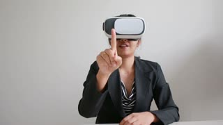 Business Woman Using Virtual Reality Glasses With Happiness