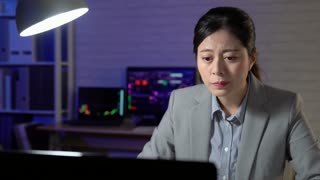 Asian businesswoman working late at night