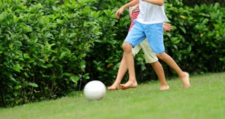 Children Playing With Soccer Ball In 4 K Kids Running After Ball
