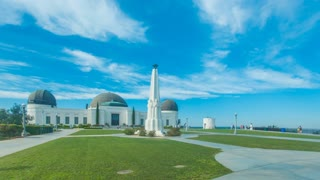 Cinematic 4K time lapse in motion or hyper lapse of Griffith Observatory Park in Los Angeles, California