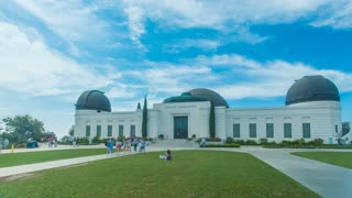 Cinematic timelapse in motion or hyperlapse of Griffith Observatory Park entrance in Los Angeles, California