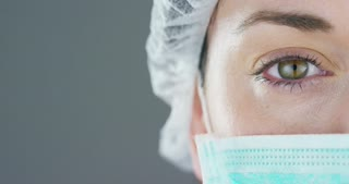 close up portrait of a woman surgeon or doctor with mask ready for operation in hospital or clinic.