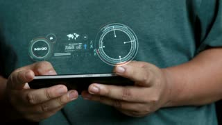 Close Up Shot Hands Of Man Using Mobile Smart Phone With Hud Futuristic Concept