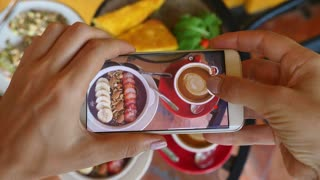 Closeup Blogger Hands Taking Picture Of Breakfast Food With Phone