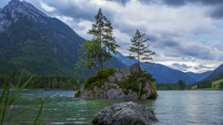 Cloudy Morning at Hintersee Lake. Time Lapse