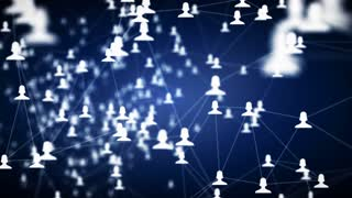 connected avatars of men and women, social network for communication, business relations, social media, technology, global village, community connections