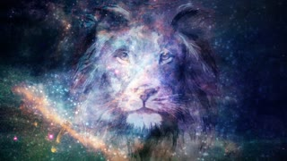 Cosmic Lion Head Background