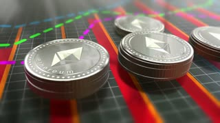 Cryptocurrency Ethereum coins growing in stacks the market. 4K UHD video animation.