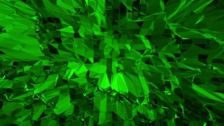 Dark green low poly waving surface as element motion graphic. Dark green polygonal geometric vibrating environment or pulsating background in cartoon low poly popular modern stylish 3D design.