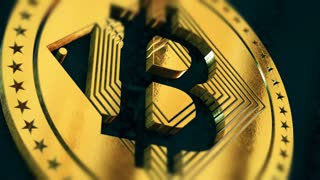 Digital cryptocurrency Bitcoin sign as virtual money. 4K UHD video animation.