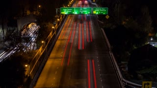 Downtown Los Angeles and Freeway Reveal Tilt Up Night Timelapse
