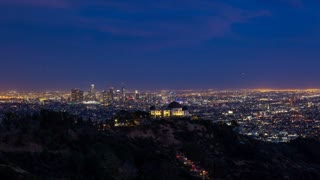 Downtown Los Angeles and Griffith Observatory Night Wide Timelapse