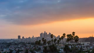 Downtown Los Angeles and Palm Trees Day to Night Sunset Timelapse
