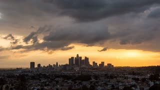 Downtown Los Angeles Beautiful Day to Night Cloudscape Sunset Timelapse
