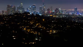 Downtown Los Angeles Panning Shot at Night Timelapse (Earth Hour)