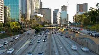 Downtown Los Angeles Traffic Freeway At Sunset Timelapse