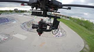 Drone Flying With Cinema Camera In Skatepark