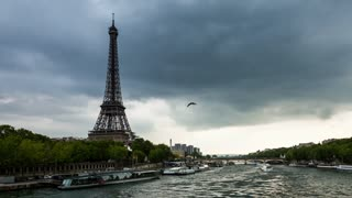 Eiffel Tower and Seine River Dark Clouds Day Timelapse