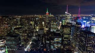 Empire State Building and New York City Aerial Night Timelapse