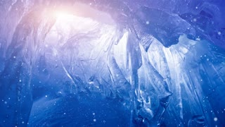 Fairy blue ice cave full of Icicles in Antarctica flooded with soft sunset pink light. Generated snow falling. Exploring beauty world. Travel, holidays, sport and recreation background. Slow motion 4K
