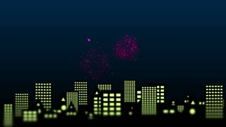 Fireworks with lighted night city in the background. 4K UHD animated video. Place for your text.