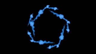 Fluorescent blue ink or smoke forming star, isolated on black in slow motion. Blue water. Use for ink background, ink effects. Alpha channel is on use luma matte as alpha mask