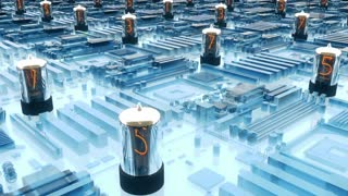 Flying over a futuristic circuit board with nixie tubes