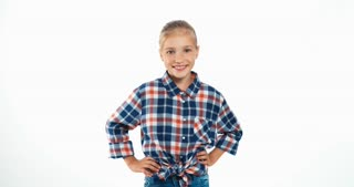 Girl In Plaid Shirt Isolated On White