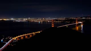 Golden Gate Bridge and San Francisco at Night Timelapse
