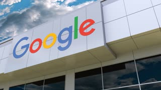 Google logo on the modern building facade. Editorial 3D rendering