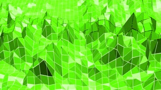 Green low poly background pulsating. Abstract low poly surface as fractal background in stylish low poly design. Polygonal mosaic background with vertex, spikes. Cool modern 3D design3