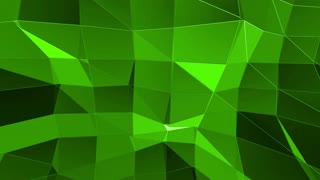 Green low poly background pulsating. Abstract low poly surface as futuristic environment in stylish low poly design. Polygonal mosaic background with vertex, spikes. Cool modern 3D design